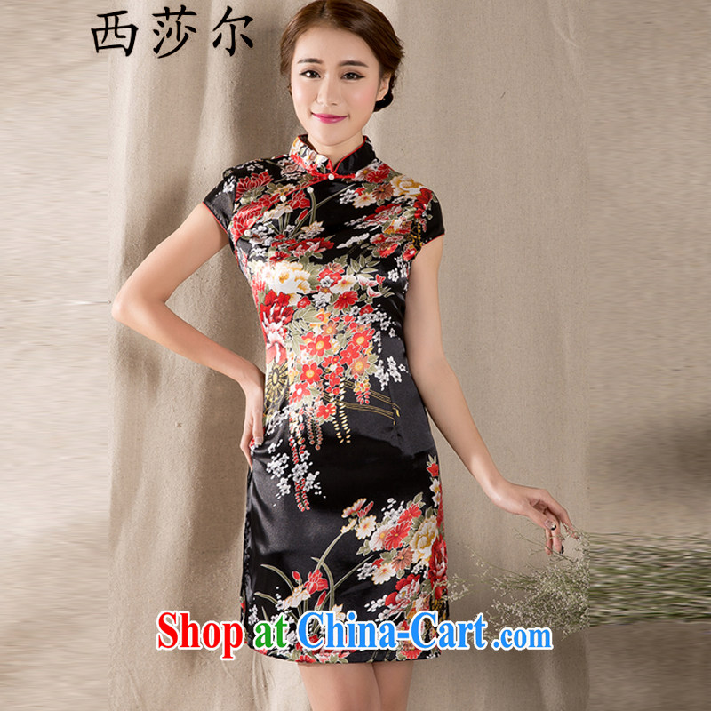 The Mona Lisa's 2015 new spring and summer short-sleeved Chinese qipao refined antique China wind women dress suit XL