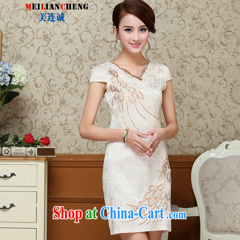 Even the US and summer 2015 new stylish and elegant improved cheongsam dress beauty graphics thin embroidered short sleeve retro style further skirt Cornhusk yellow XXL