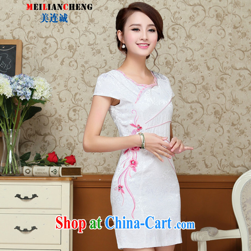 The US even good faith 2015 summer new stylish and elegant and refined antique dresses and elegant style dresses beauty graphics thin embroidered further skirt red XXL