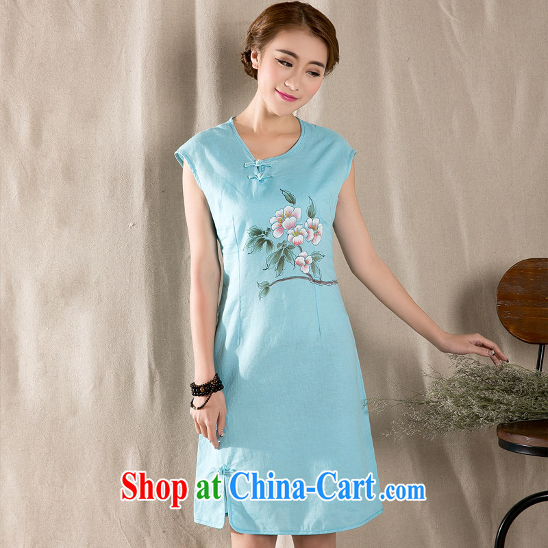 Bamboo incense were 2015 New Literature and Art Nouveau cotton the female hand-painted cotton Ma Sau San improved cheongsam dress blue XL