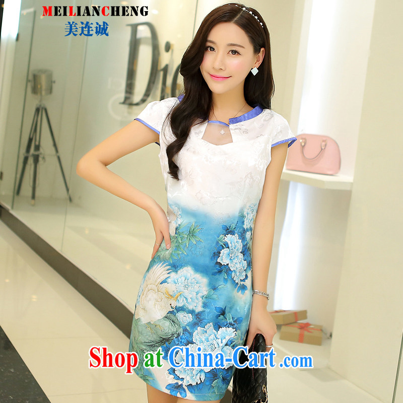 The US even good faith summer 2015 New Beauty dresses stylish stamp improved retro graphics thin cheongsam dress style female further skirt light blue Peony XL