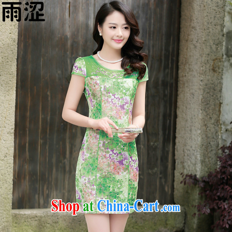 Rain Shibuya-kei 2015 summer new dress and elegant beauty stamp water drilling fluoroscopy Web yarn national short cheongsam dress package and skirt dresses green the Peony XXL