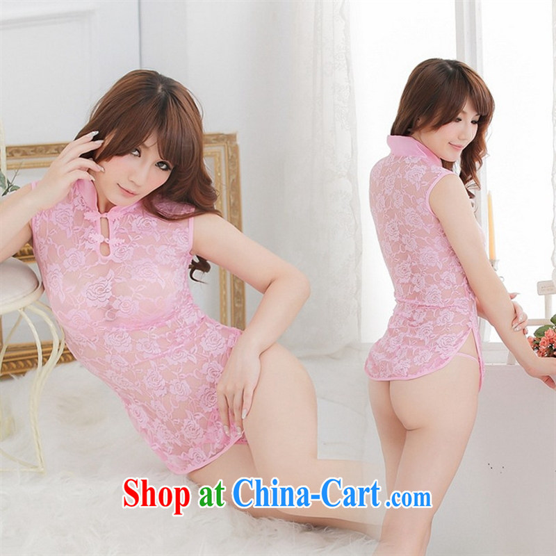 Package Mail sexy transparent lace classic cheongsam lovely lingerie uniforms temptation package live beauty package and bathrobe pink 1128 _the Open Document silk stockings_ 155 _s_