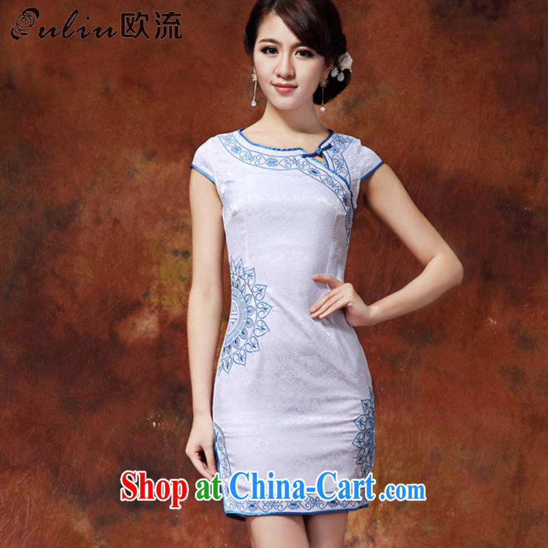 The stream embroidered lotus petals short qipao cotton-maize cheongsam dress dresses summer female AQE 920 blue XXL
