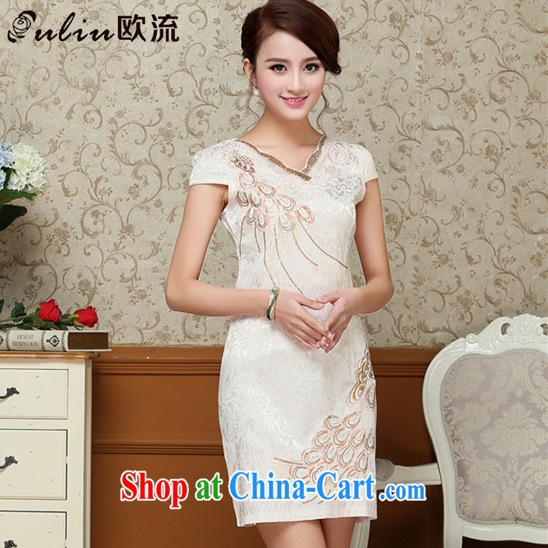 The stream embroidery Peacock jacquard cotton cheongsam Chinese Antique improved daily short-sleeved qipao dresses AQE 9038 apricot XXL