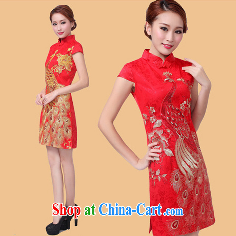 The Greek Diana, 2015 new show annual wedding dress bridal wedding retro improved red toast serving short cheongsam red Peacock