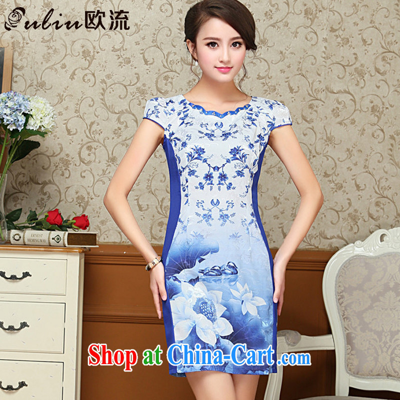 The trendy flower petals round-collar floral cheongsam dress summer China wind female ritual service cheongsam AQE 9025 blue XXL
