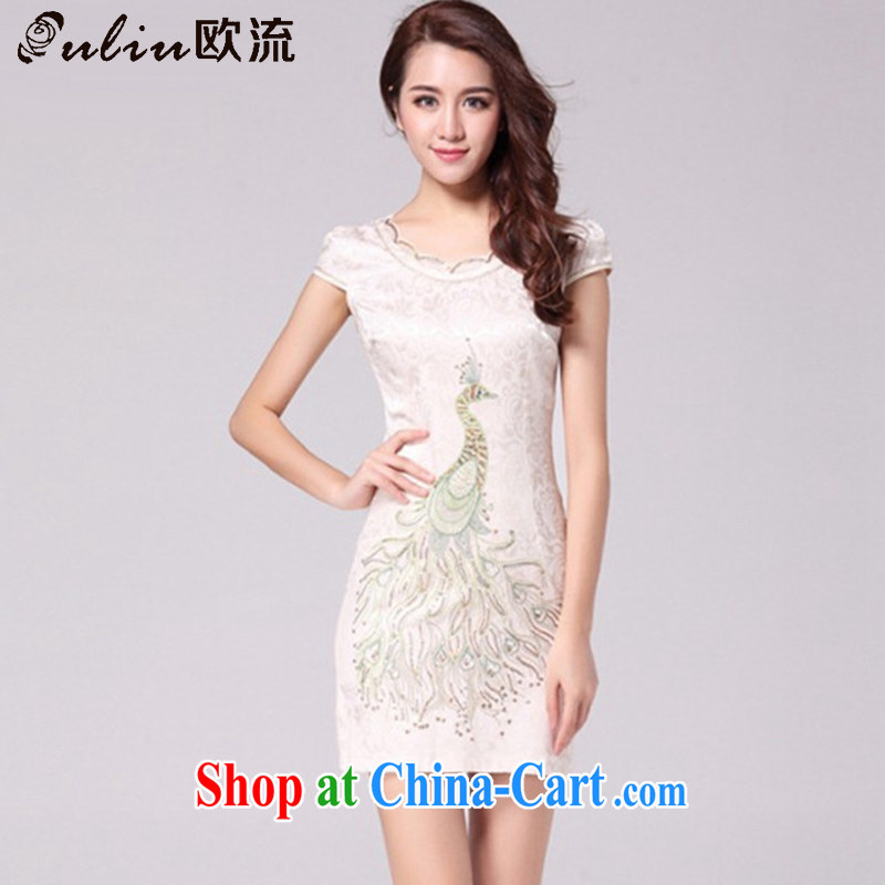 The First Class National wind female embroidery Peacock retro dresses the style beauty dresses show clothing AQE 9031 apricot XXL