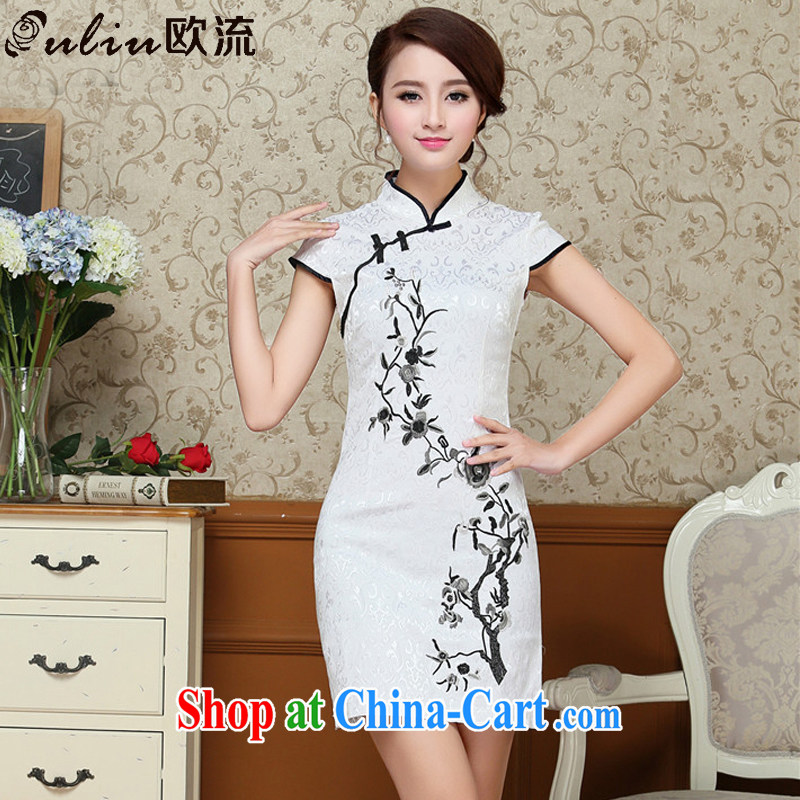The class elegance sexy short dresses improved daily white embroidered retro ethnic wind women 9020 AQE white XXL