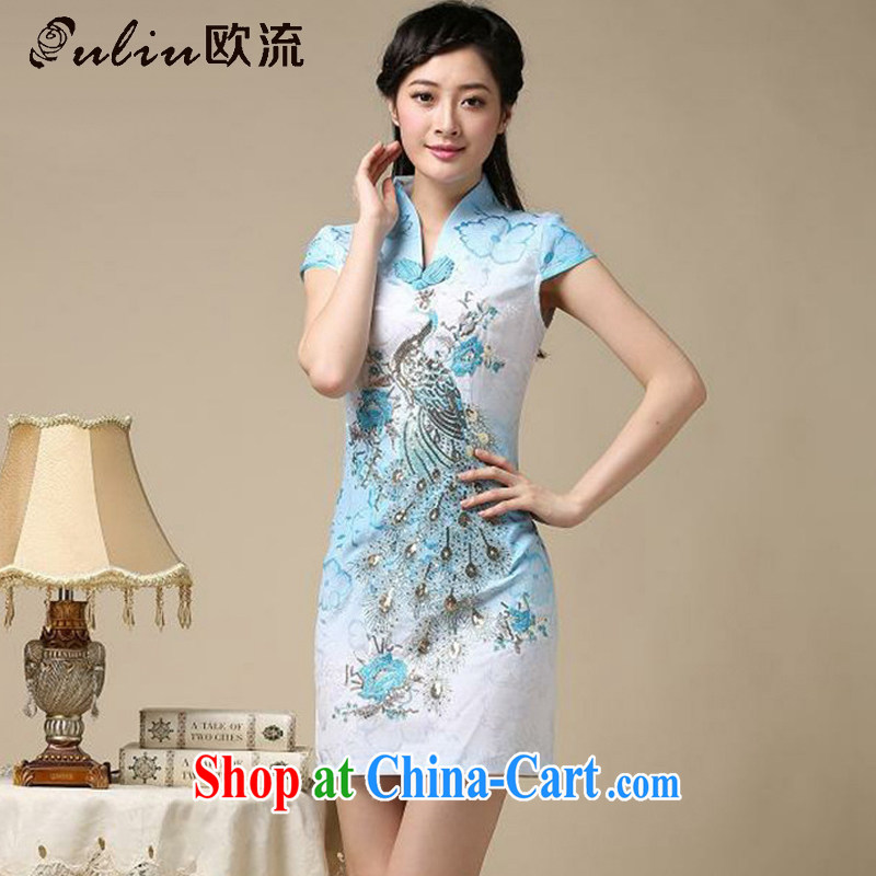 The current National wind retro Phoenix Peacock embroidery embroidery cheongsam dress improved daily short cheongsam dress even AQE 8218 blue XXL