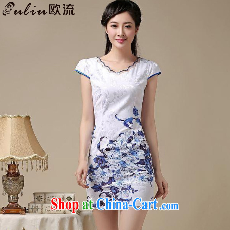 The round collar retro blue and stamp duty cheongsam dress stylish daily minimalist dress sense of Cultivating Female AQE 8219 photo color�XXL