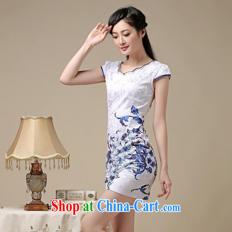 The round collar retro blue and stamp duty cheongsam dress stylish everyday minimalist dress sense of Cultivating Female AQE 8219 photo color聽XXL, the stream (OULIU), online shopping