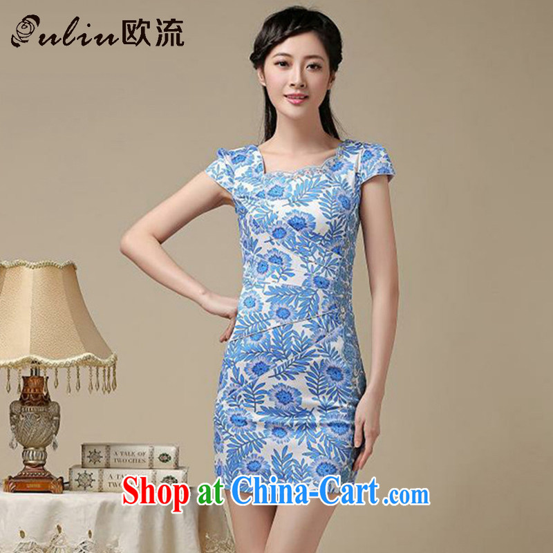 The trendy floral short cheongsam beauty graphics thin large code cheongsam dress retro improved daily Chinese female AQE 8215 blue XXL
