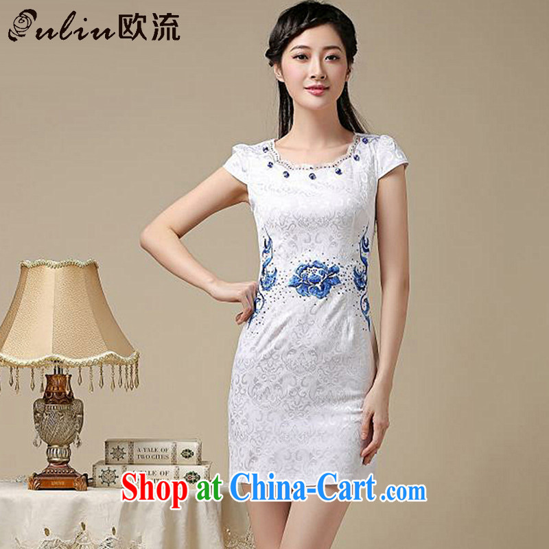 The First Class National wind women antique Chinese qipao improved daily round-collar girls dresses, dresses AQE 8211 blue XXL