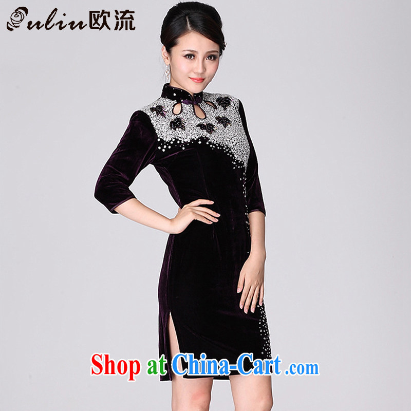 euro-class, high-end gold velour cheongsam dress wedding dress MOM XL 7 cuff toast serving female AQE 813 purple cuff in XXXXL