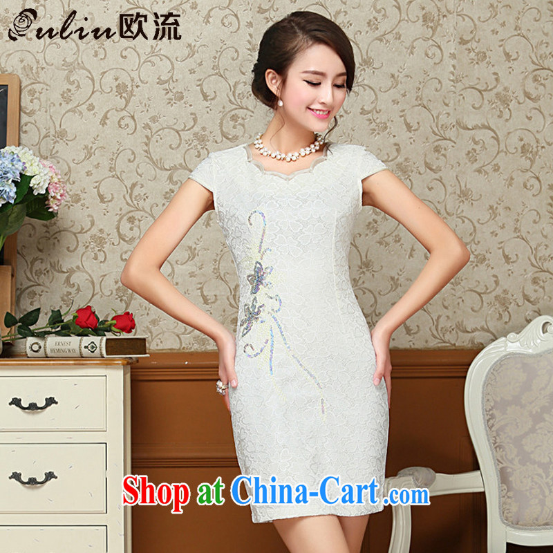 The class short lace cheongsam dress summer retro daily short-sleeved Tang replace AQE 808 white XXL