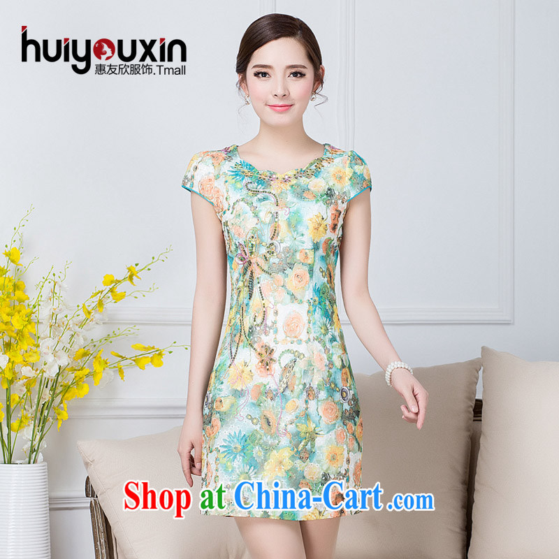 2015 new summer dress improved daily short-sleeved cultivating Ethnic Wind dresses, long dresses Evening Dress green M