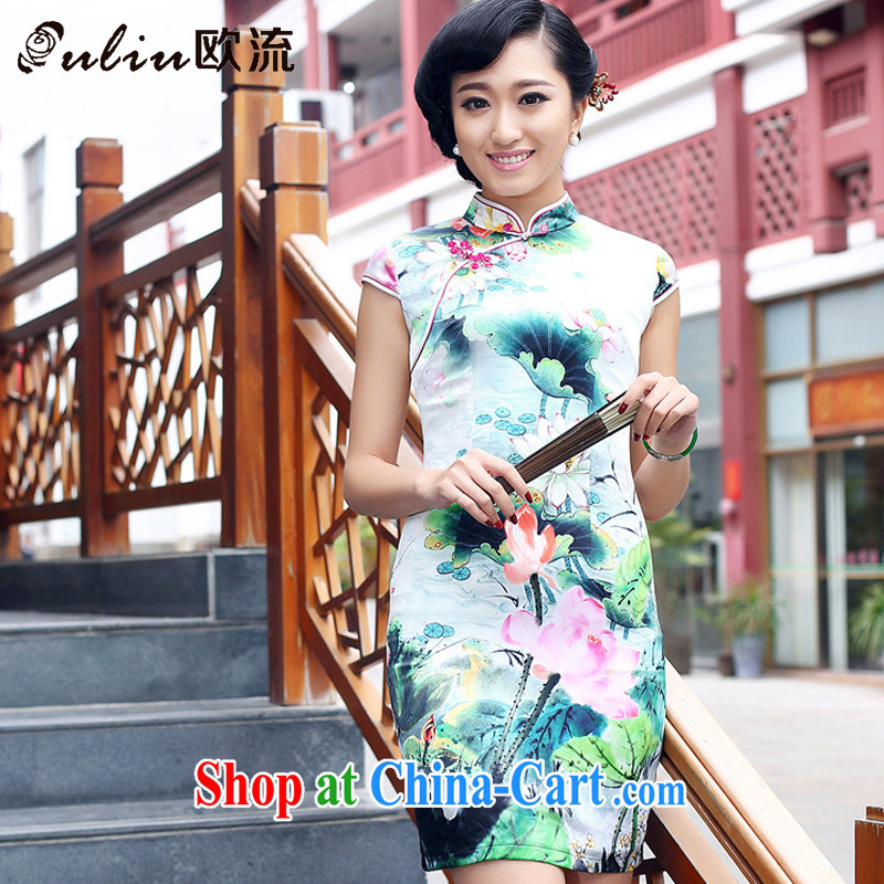 The class heavy Silk Cheongsam improved daily summer female sauna Silk Dresses AQE 8073 Map Color XXXL