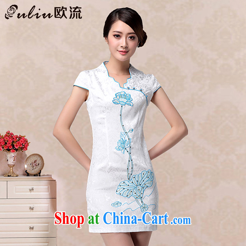 The leading lady charisma V for cultivating cheongsam dress retro improved fashion cheongsam dress embroidered Lotus dresses AQE 658 blue XXL