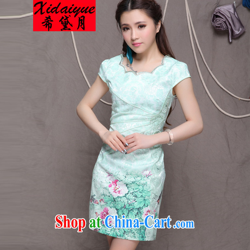 The Greek Diana, 2015 high-end Ethnic Wind stylish Chinese qipao dress retro beauty graphics thin cheongsam green