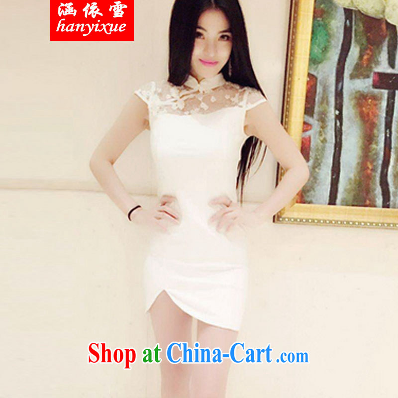 covered by snow in summer 2015 Korean version of the new and stylish name-yuan elegance sense of my store lace check take retro the forklift truck cheongsam dress package and short skirts dresses female white M