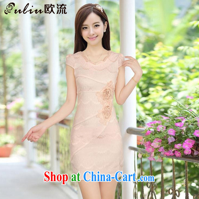 The stream in summer short cotton dresses retro improved daily cheongsam dress elegance dresses AQE 8023 apricot XXL