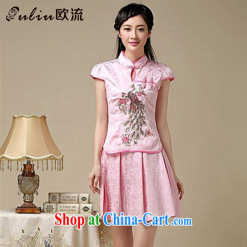 The class outfit Kit two-piece summer retro College wind stylish Korea Tang replace AQE 8022 pink XXL