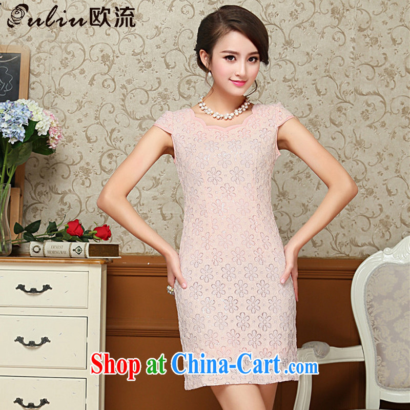 The trendy sexy lace cheongsam dress retro improved daily short cheongsam dress elegance AQE 8026 pink XXL