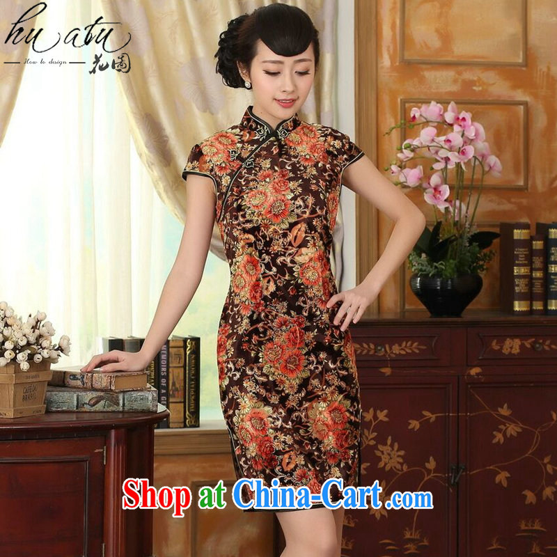 spend the summer new girls improved Chinese, for stretch the wool painting stylish classic short-sleeved short cheongsam Golden Flower 2 XL