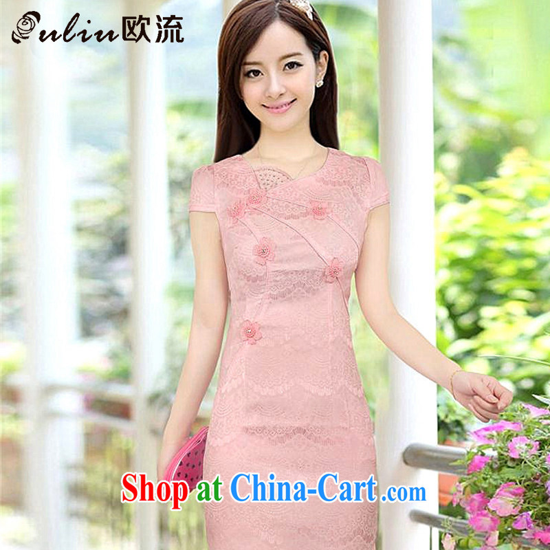 The stream summer sweet cute girl cheongsam short retro fashion cheongsam dress, dresses, 8030 AQE pink XXL