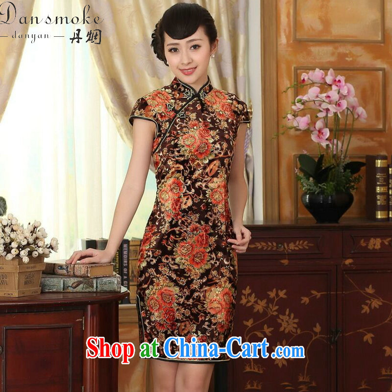 Bin Laden smoke summer new female improved Chinese, for stretch the wool painting stylish classic short-sleeved short cheongsam Golden Flower 2 XL
