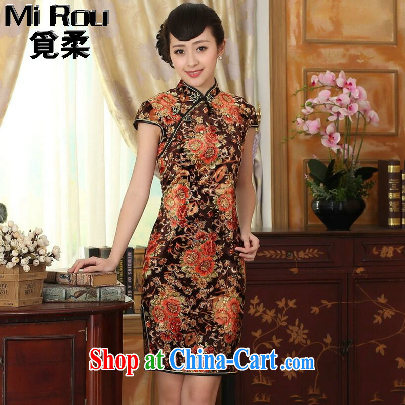 Find Sophie summer wear new clothes improved Chinese, for stretch-wool painting stylish classic short-sleeved short cheongsam Golden Flower 2 XL