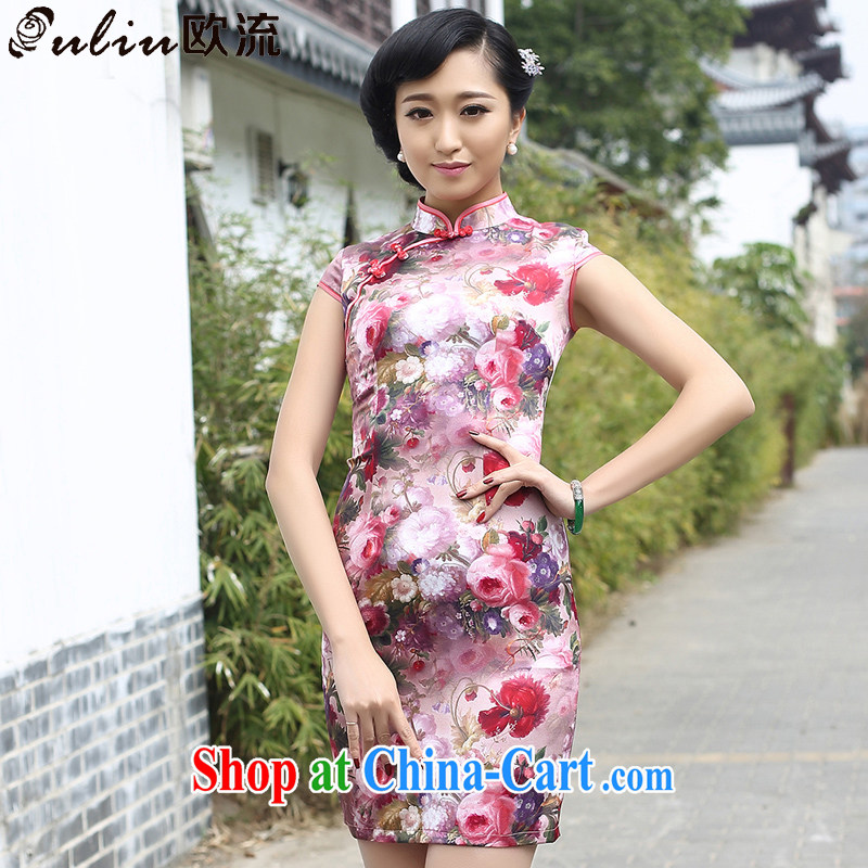 The stream is Silk Cheongsam floral China wind high-end sauna Silk Cheongsam dress female AQE 8050 photo color XXXL