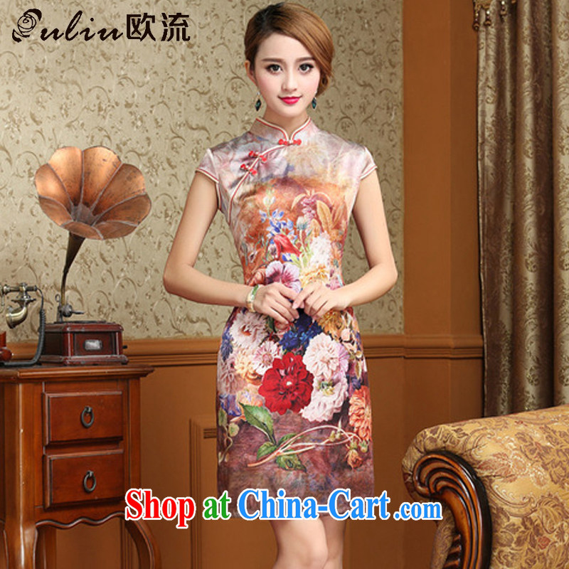 The stream summer heavy Silk Cheongsam dress beauty antique Chinese qipao dresses AQE 8054 Map Color XXXL