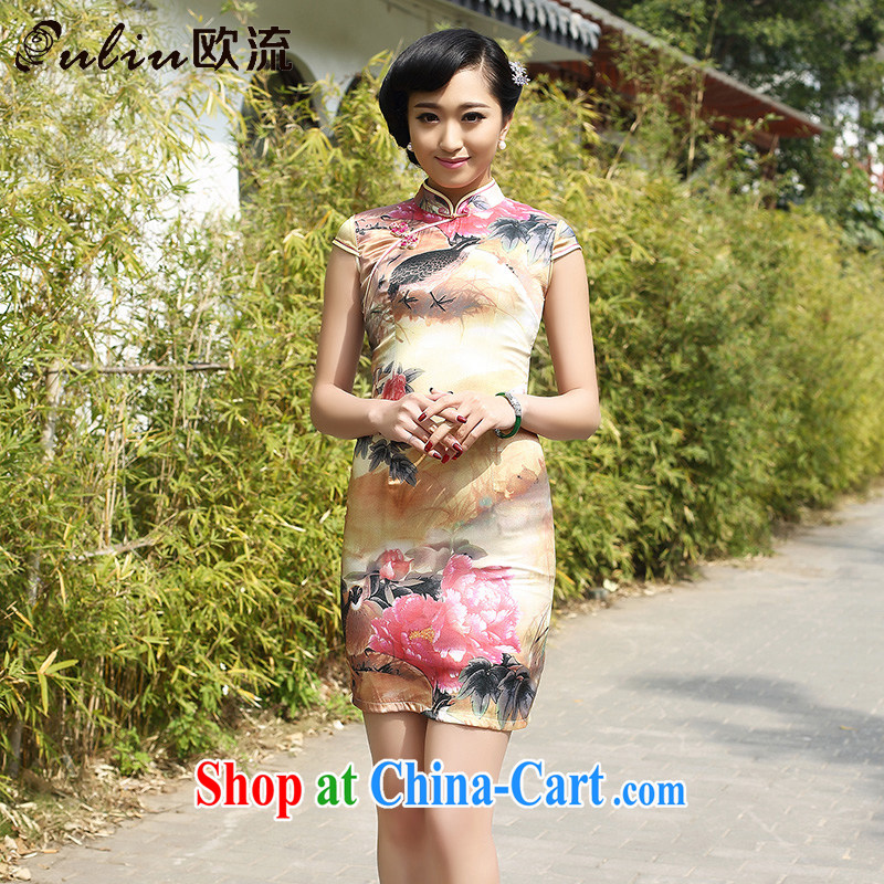 euro-china wind female retro fashion Silk Cheongsam dress heavy mulberry Silk Dresses AQE 8051 photo color XXXL