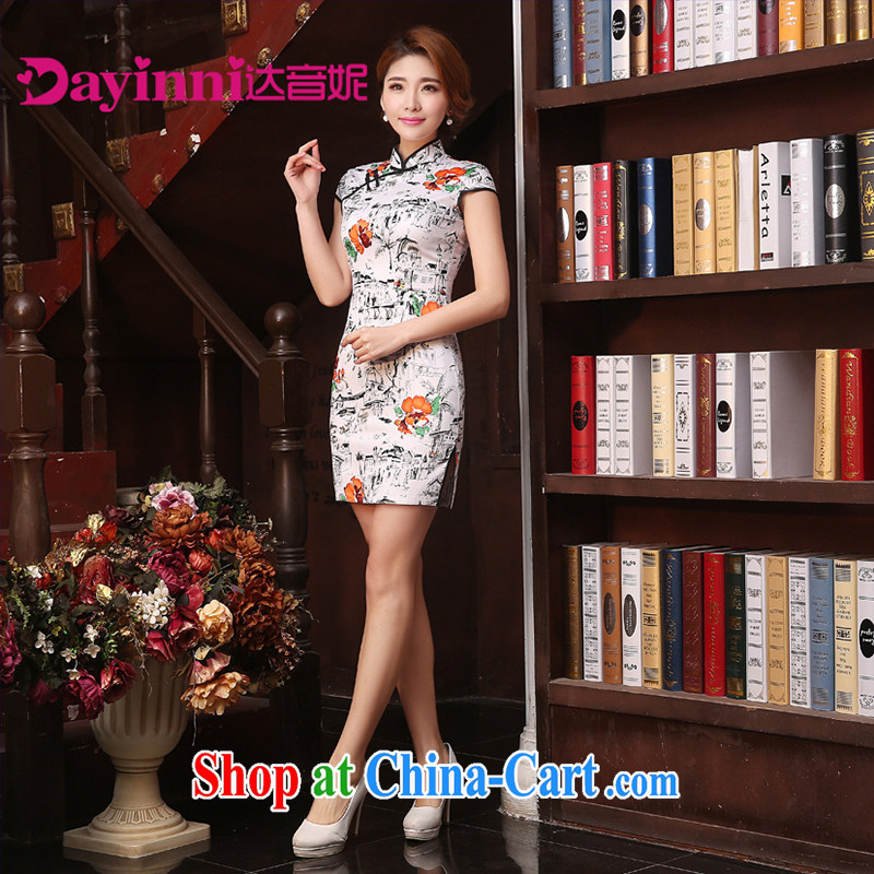 Chinese Antique cheongsam dress 2015 spring and summer elegance low the forklift truck cheongsam dress, collar cheongsam white XXL