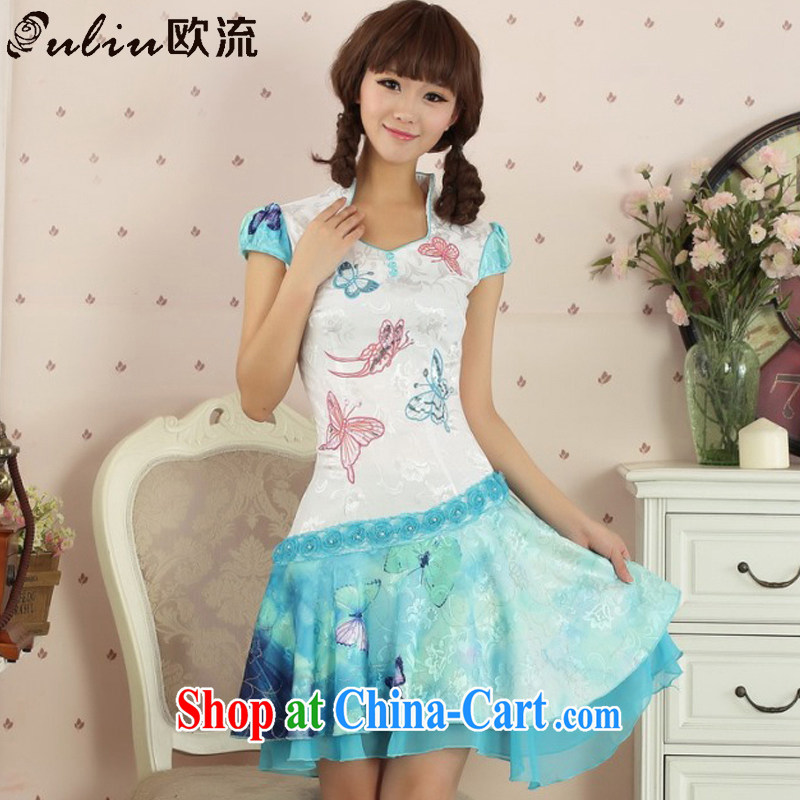 European-style summer dresses beauty-dresses retro girls improved daily Korea Tang replace AQE 3428 blue XL