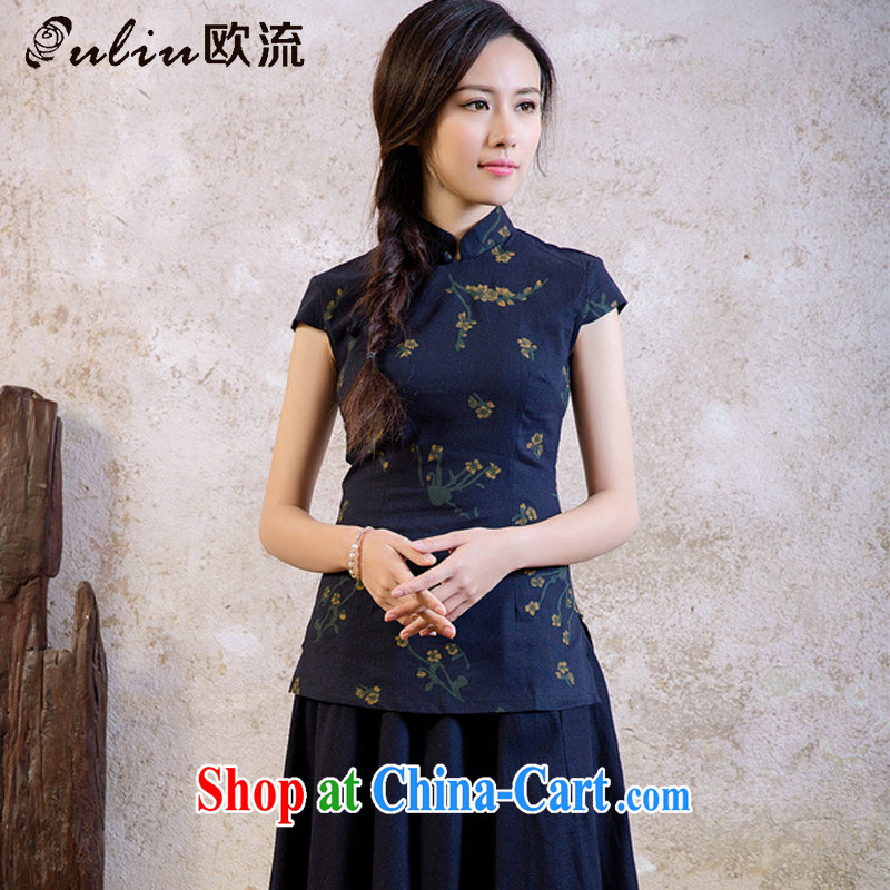 The retro-style cotton the floral Chinese Chinese T-shirt improved daily Korea summer short-sleeved shirt AQE 2062 Samui Navy XXL