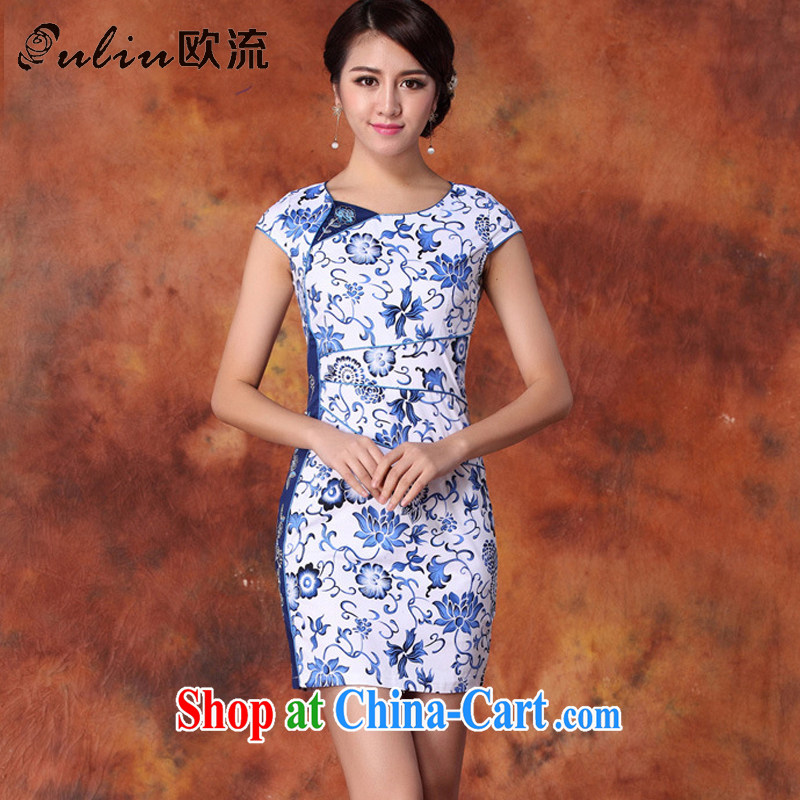 The retro-improved daily goods short-sleeve cultivating charisma cheongsam dress AQE 1019 blue and white porcelain XXL