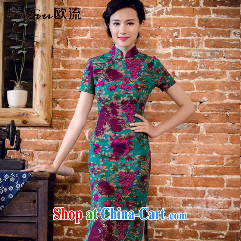 The flow in long dresses, summer short sleeve cheongsam dress antique Chinese cotton Ma dresses ethnic wind women 2063 AQE Aloeswood XXL