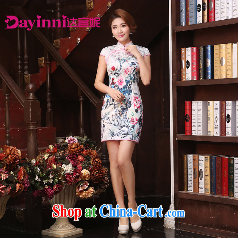 2015 spring and summer new dresses and Stylish retro improved cheongsam dress daily short dresses beauty style white XXL