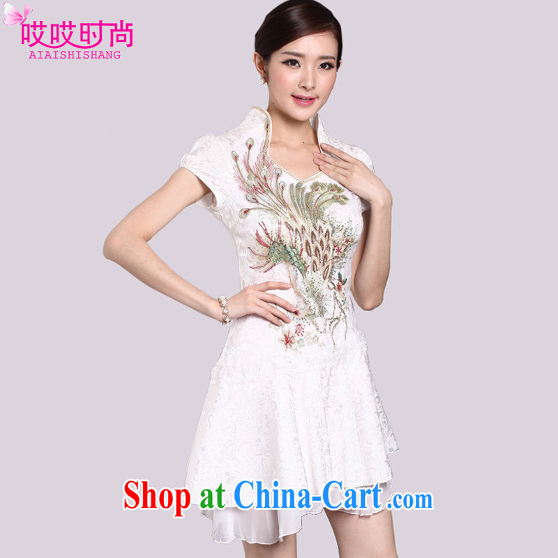 Ah, ah, stylish summer 2015 new female sexy lace antique cheongsam dress 1220 _light gray XL