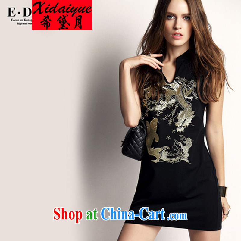 The Greek Diana, 2015 summer new, female retro ethnic wind beauty embroidery cheongsam, the collar dresses black XL