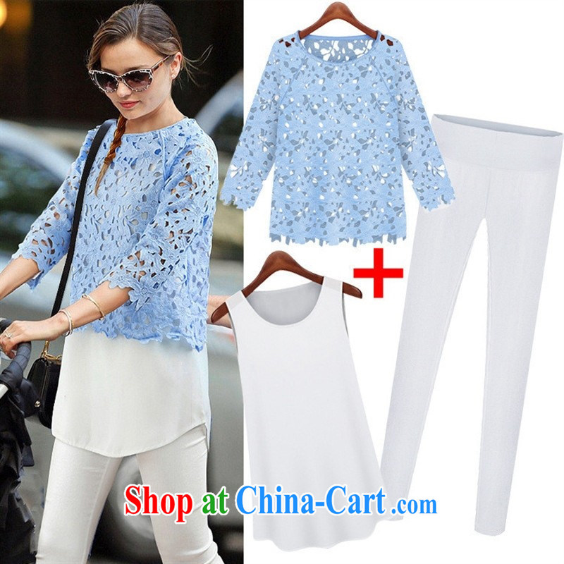 September Apparel * Europe summer 2015 new stylish does not rule relaxed lace shirt + pencil pants Kit 3 ? Picture Color XL