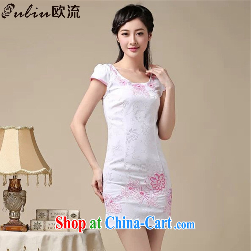 The class arts small fresh lady aura short cheongsam dress beauty graphics thin retro dress dresses AQE 0762 pink XXL