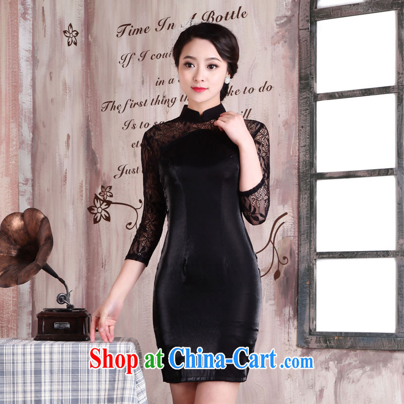 Jubilee 1000 bride's 2015 Spring Summer retro fashion beauty graphics thin black lace style cheongsam dress X 2041 and with XXL