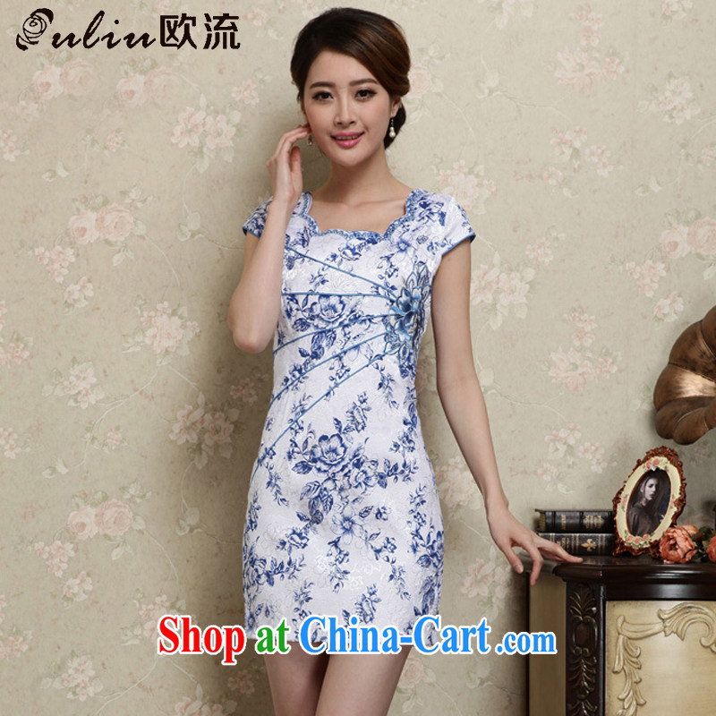 The class decorated in summer, short dresses retro improved daily Korea fashion round collar dress AQE 1020 blue and white porcelain XXL