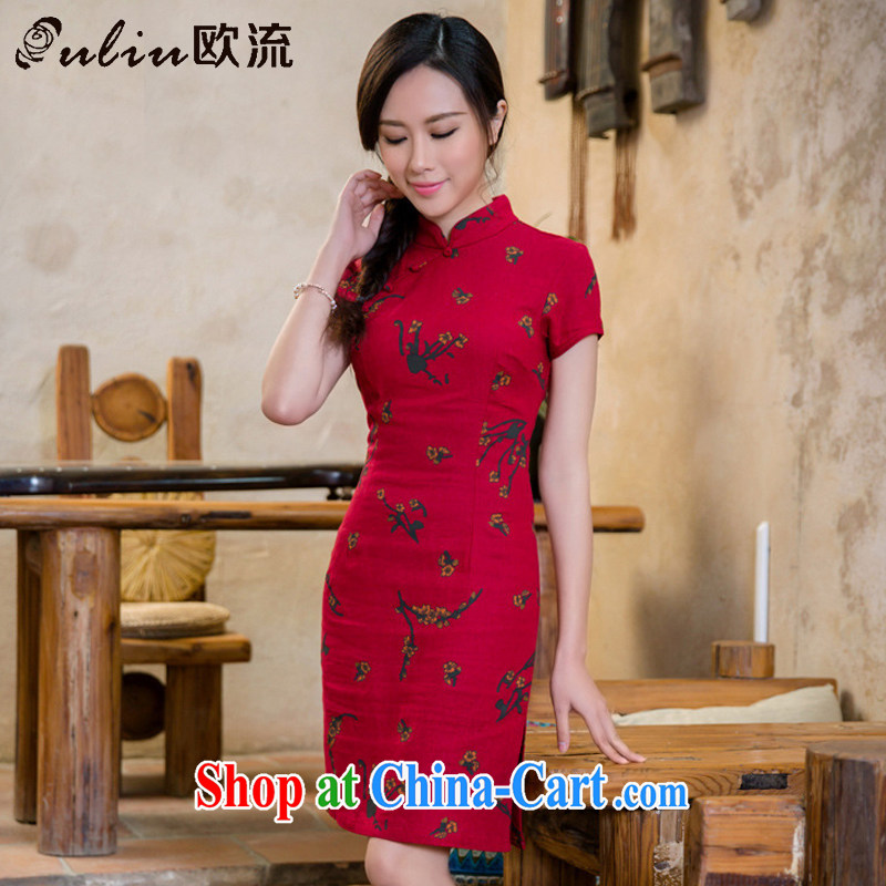 The flow unit the cheongsam dress retro fashion linen cheongsam dress China wind female AQE 2088 Samui red XXL