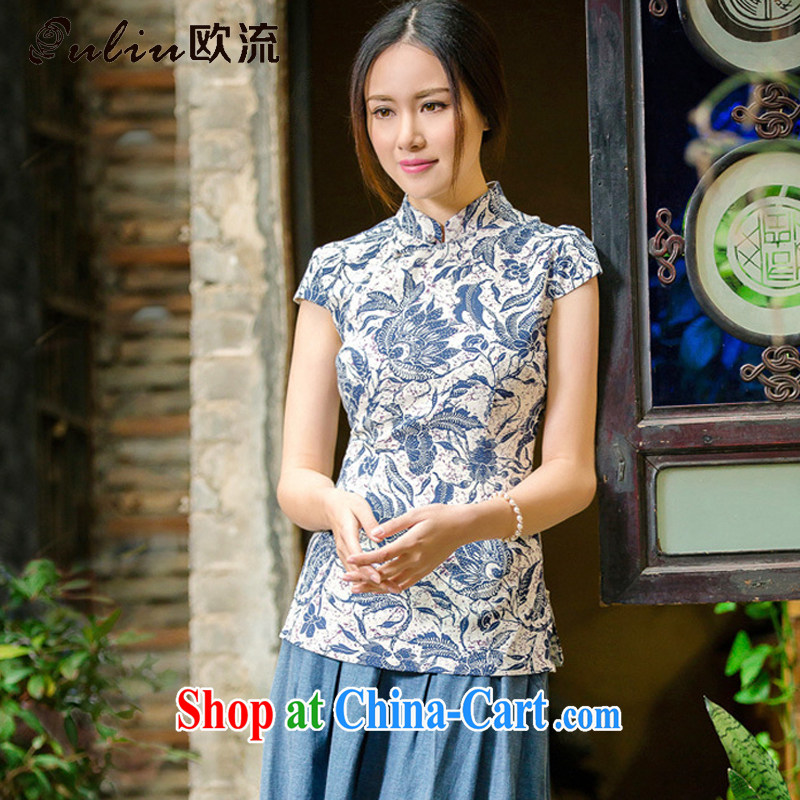 euro-china wind retro short-sleeved linen Chinese T-shirt improved daily short-sleeved shirt AQE 2062 blue and white porcelain XXL