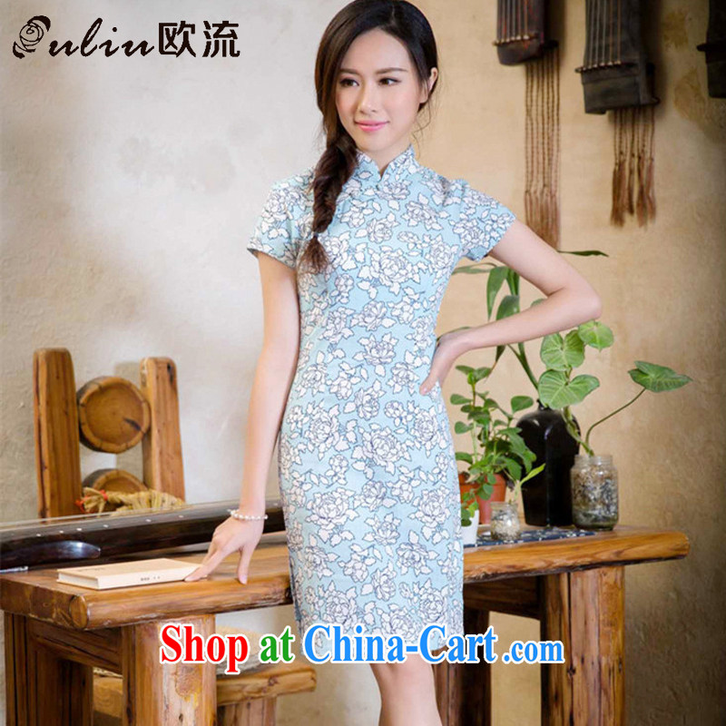 The stream summer short low-power's sense of cotton the cheongsam dress improved daily girl cheongsam dress AQE 2088 if LAN XXL